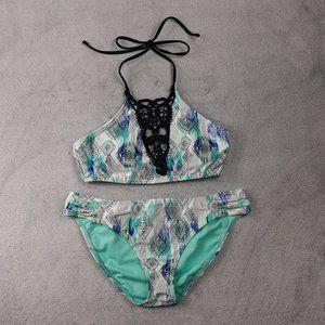 Ambrielle Blue Patterned Black Lace Halter Bikini